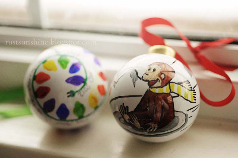 12 Days of Christmas Ornaments - Day 11: Sharpie drawings on Porcelain Bulbs - Rust & Sunshine: 12 Days Of Christmas Ornaments - Day 11: Sharpie