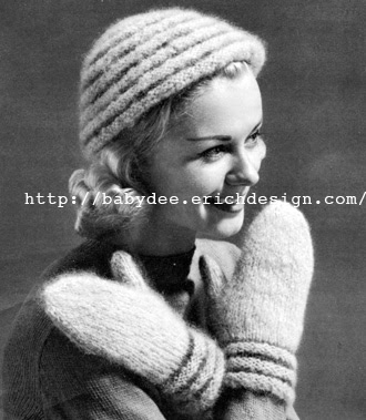 The Vintage Pattern Files - Free 1950's Knitting Pattern - Shaggy Hatt and Mitts