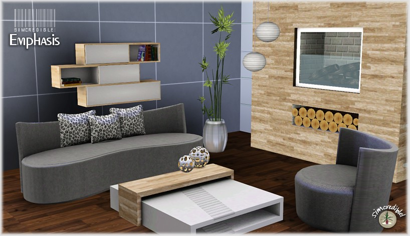 My sims 3 blog emphasis living room set by simcredible for Sims 3 living room sets