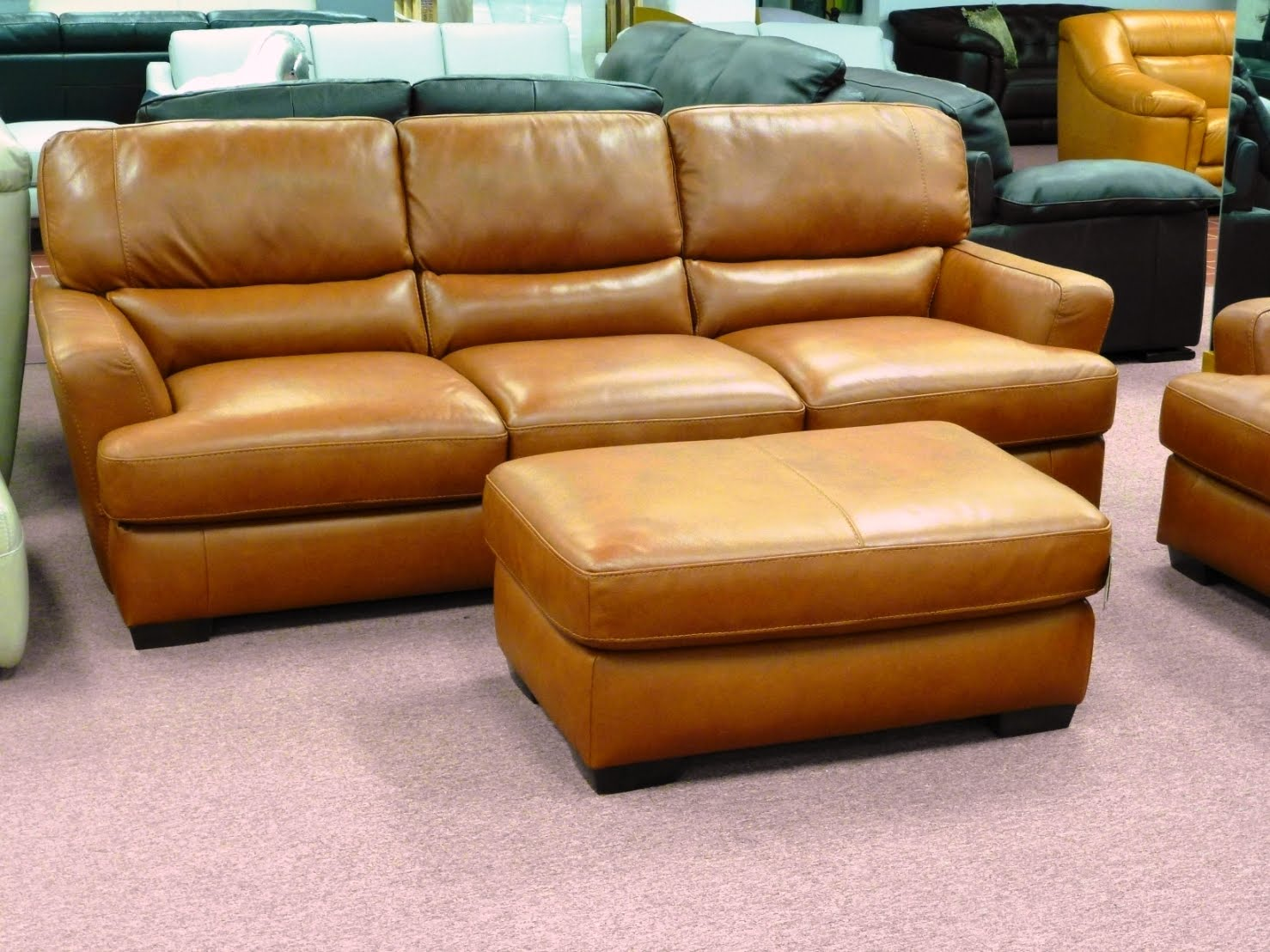 Orange Leather Sofas By Natuzzi Editions
