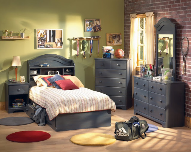 elegant boy bedroom sets with gray bed and pretty pillows and dark gray vanity and hanging storage in the wall