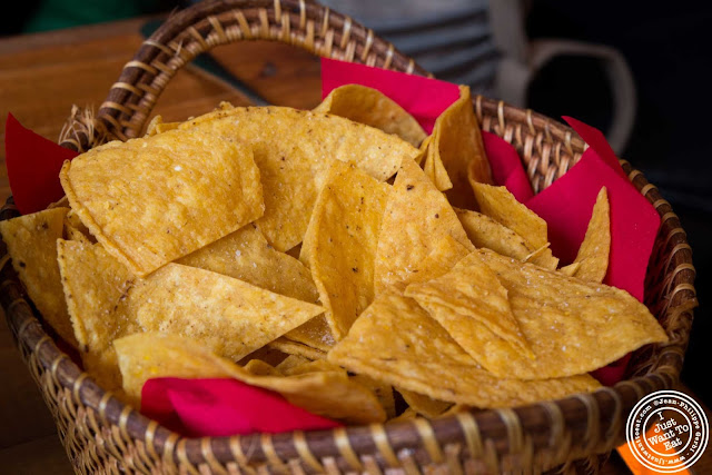 Image of tortilla chips at Papatzul Mexican restaurant in Soho, NYC, New York