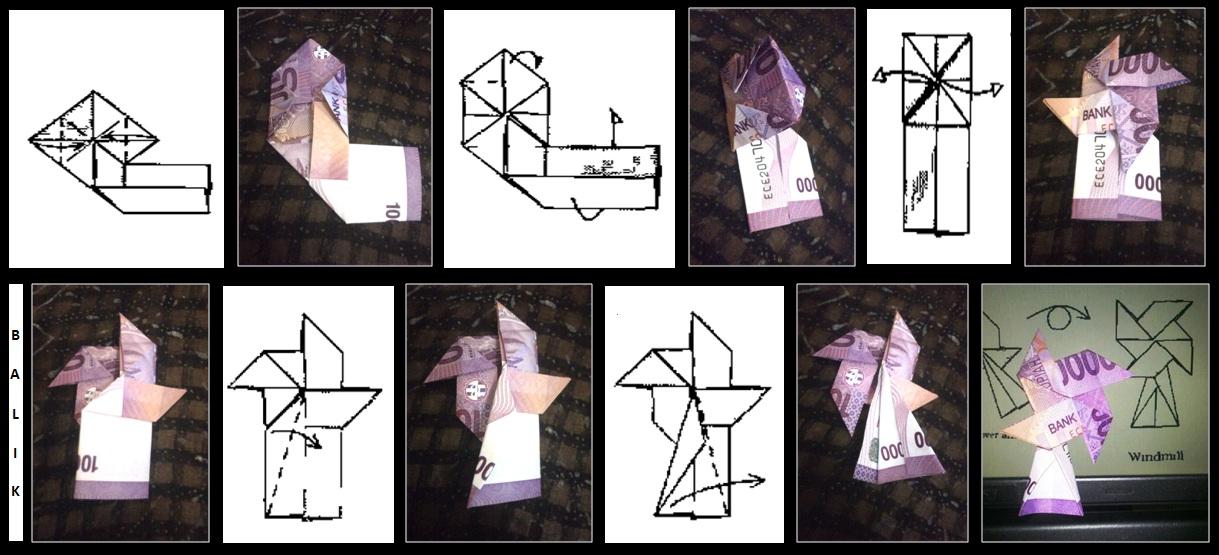 Cara Membuat Origami Kincir Angin dari Uang