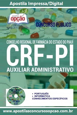 Apostila CRF Piauí 2016 Impressa-Digitial - Auxiliar Administrativo