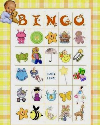 Bingo con dibujos para usar en el baby shower