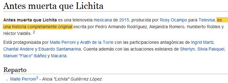 Captura del artículo Antes muerta que Lichita en Wikipedia, 2015 | Ximinia