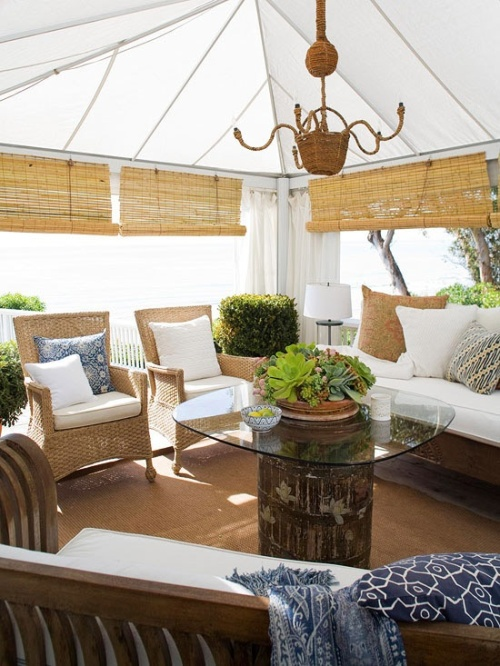 natural and white porch decoration with bamboo chairs