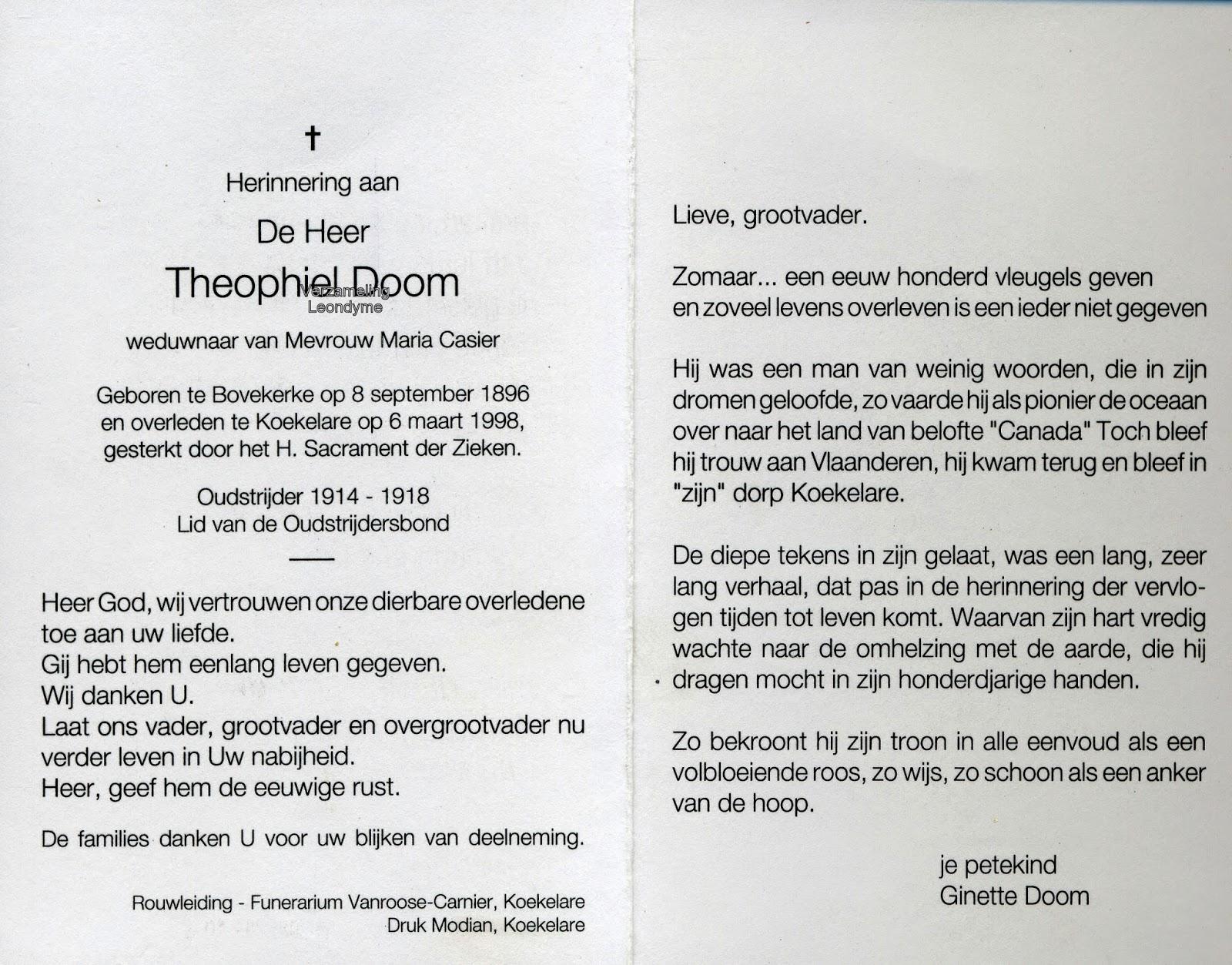 Bidprentje, Theophiel Doom 1897-1998. Verzameling Leondyme