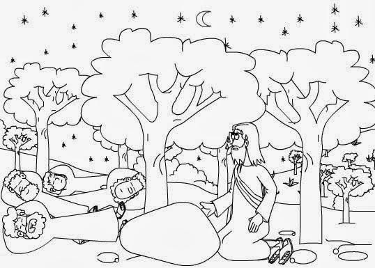 Imagenes Cristianas Para Colorear: Dibujo de Jesus en el Getsemaní ...