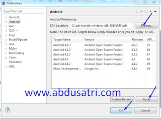 cara integrasi android sdk dan eclipse