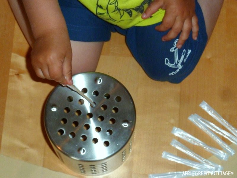 developing fine motor skills - toothpicks in action