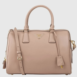 Prada Saffiano Leather Bauletto Bag Cammeo  Beige