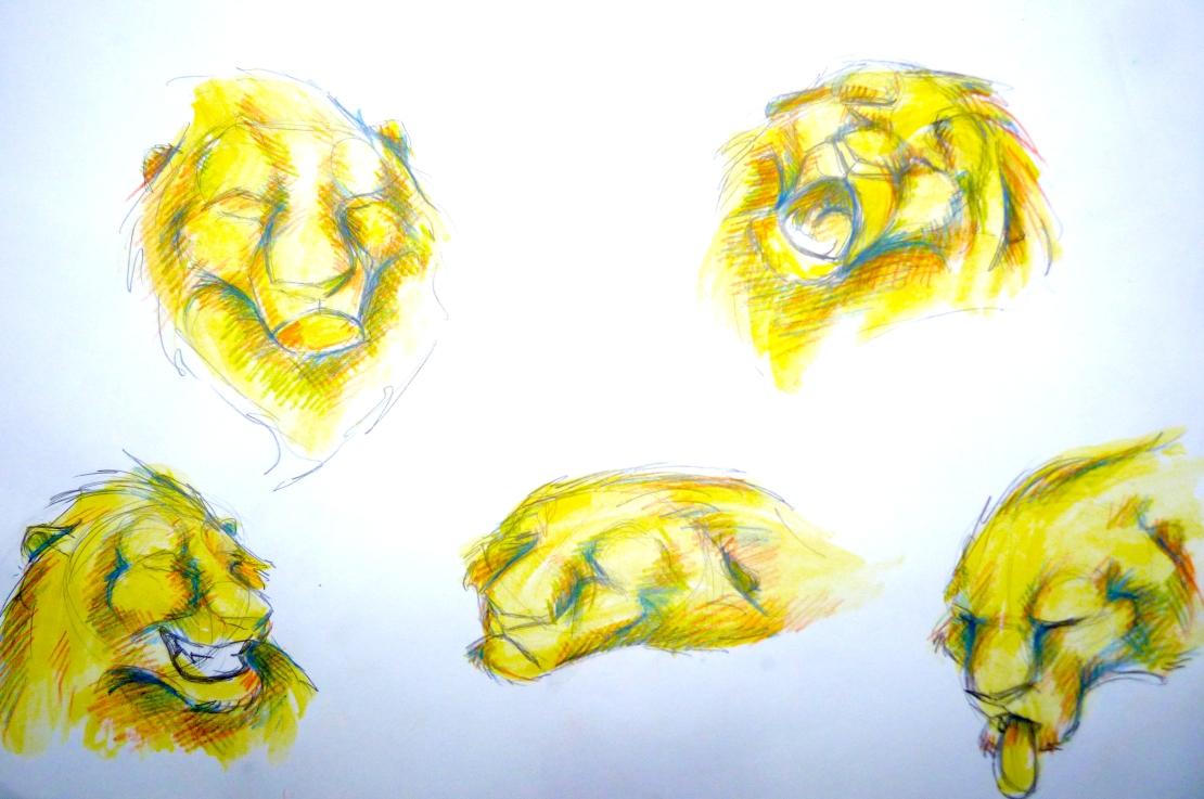 manu lafay le lion et la souris planche d'expressions