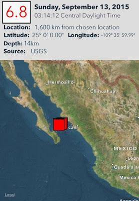 Epicentro sismo 6,8 grados en Golfo de California 13 de Septiembre 2015