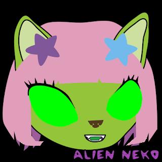Happy 2 alien neko emoji