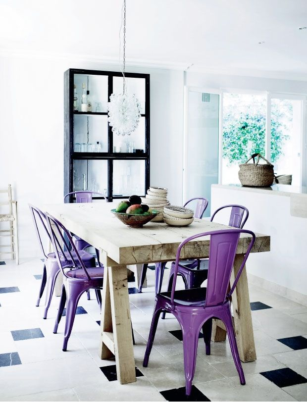 Lunch latte for Purple dining room table