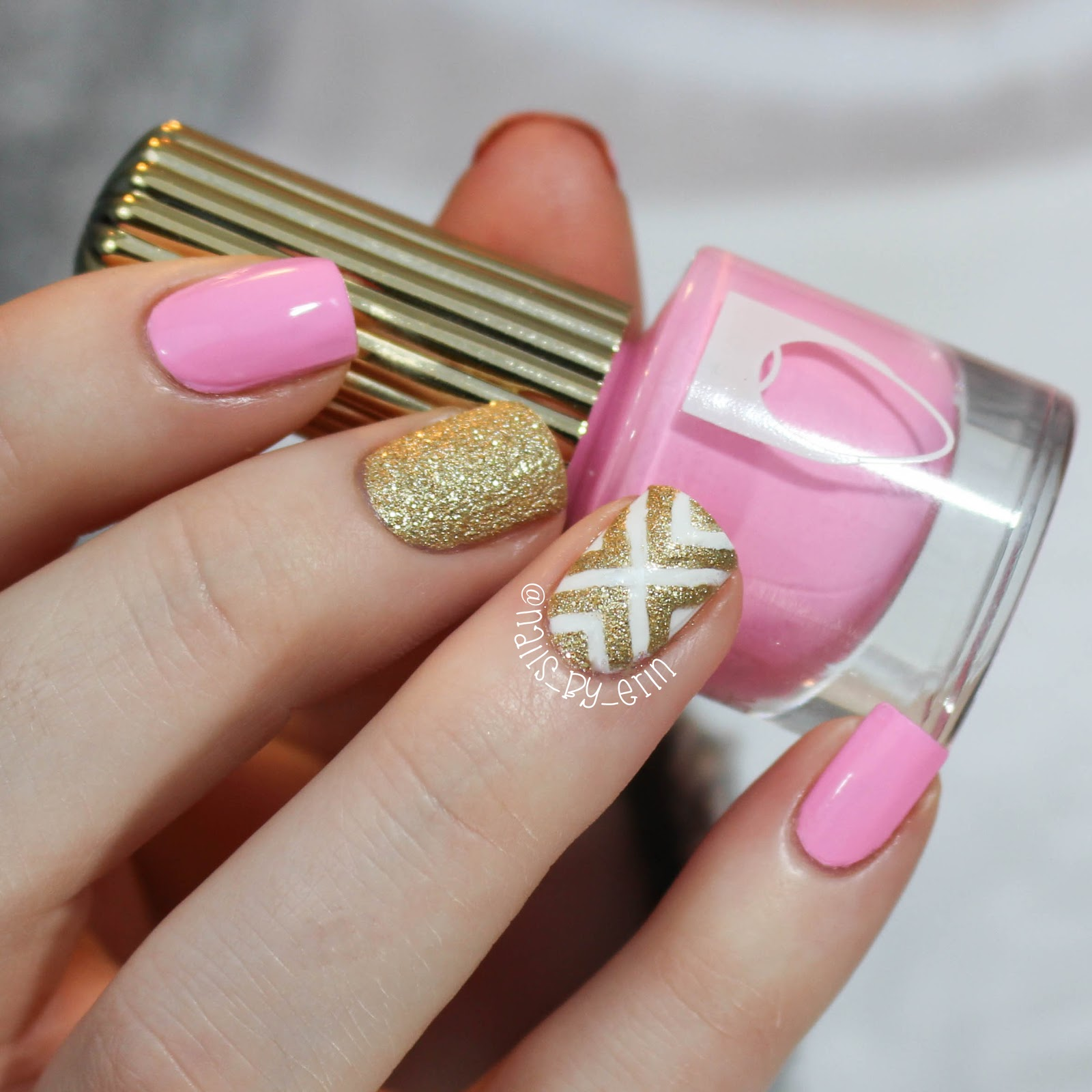 NailsByErin: Pink and Gold Nails | Mani Swap with Julie @ ...