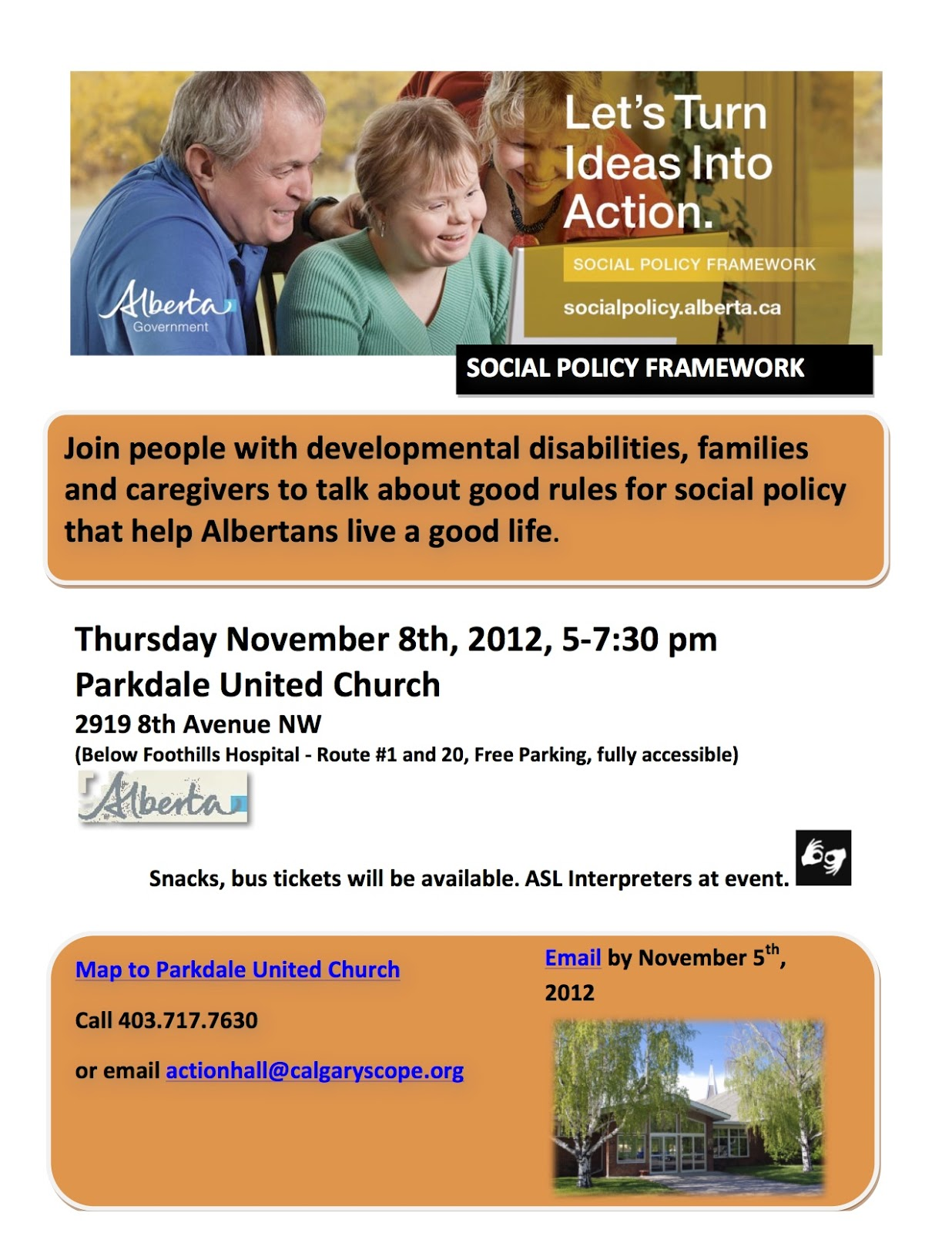 Thursday Nov 8 5-7:30 pm, stage 2 of Social Policy Framework