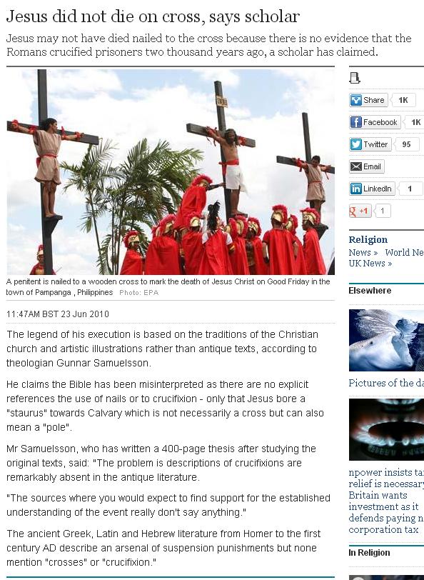 Jesus did not die on cross says scholar telegraph.