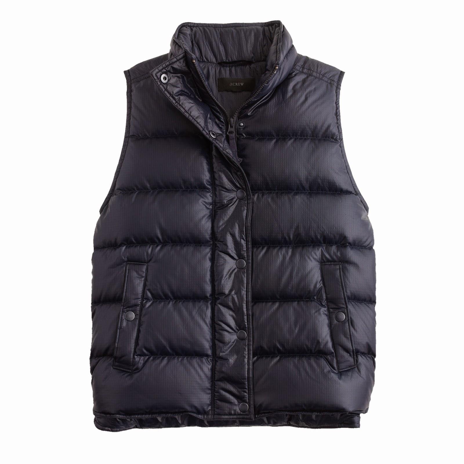 j crew shiny puffer vest