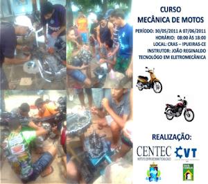 CVT DE IPU MINISTRA CURSO DE MECÂNICA DE MOTOS NO MUNICÍPIO DE IPUEIRAS-CE