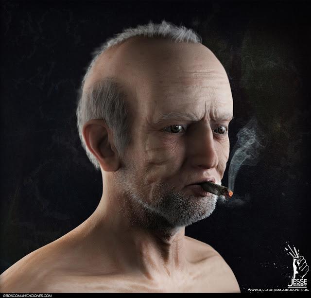 Hombre viejo retrato 3d, oldman portrait jesse gutierrez art peru 3d,artista peruano 3d diseño 3d