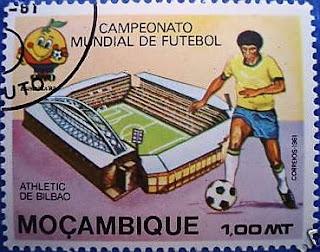 Sello de Mozambique que se emitió con motivo del Mundial 82