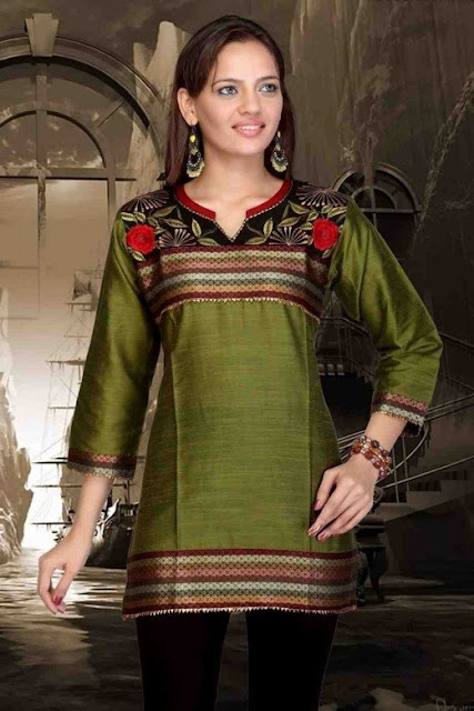Green-Art-Silk-Traditional-Kurti