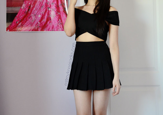 Full outfit featuring the off-shoulder crop top from Milanoo and an American Apparel pleated tennis skirt dupe from SheInside.