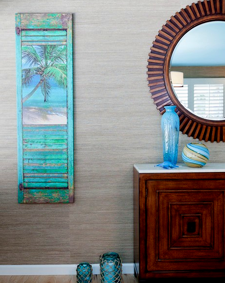 Coastal art shutters idea by karen grace shop the look coastal decor ideas and interior for Decorative interior wall shutters