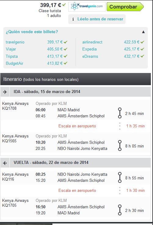 Vuelo arato a Nairobi