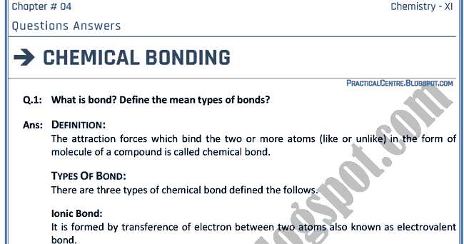 chemical bonding essay question Check out our top free essays on chemical bonding to help you write your own essay.