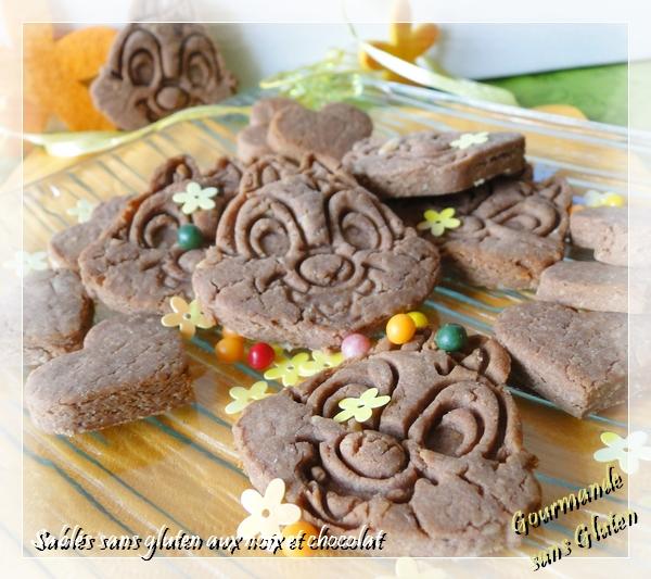 Sablés sans gluten noix et chocolat