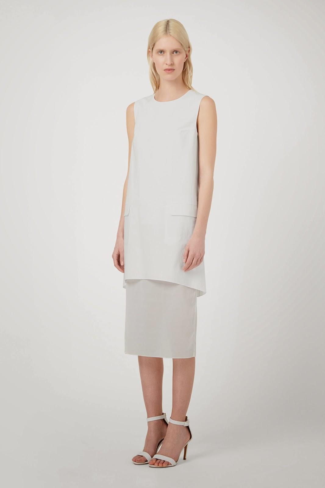 cos white midi dress