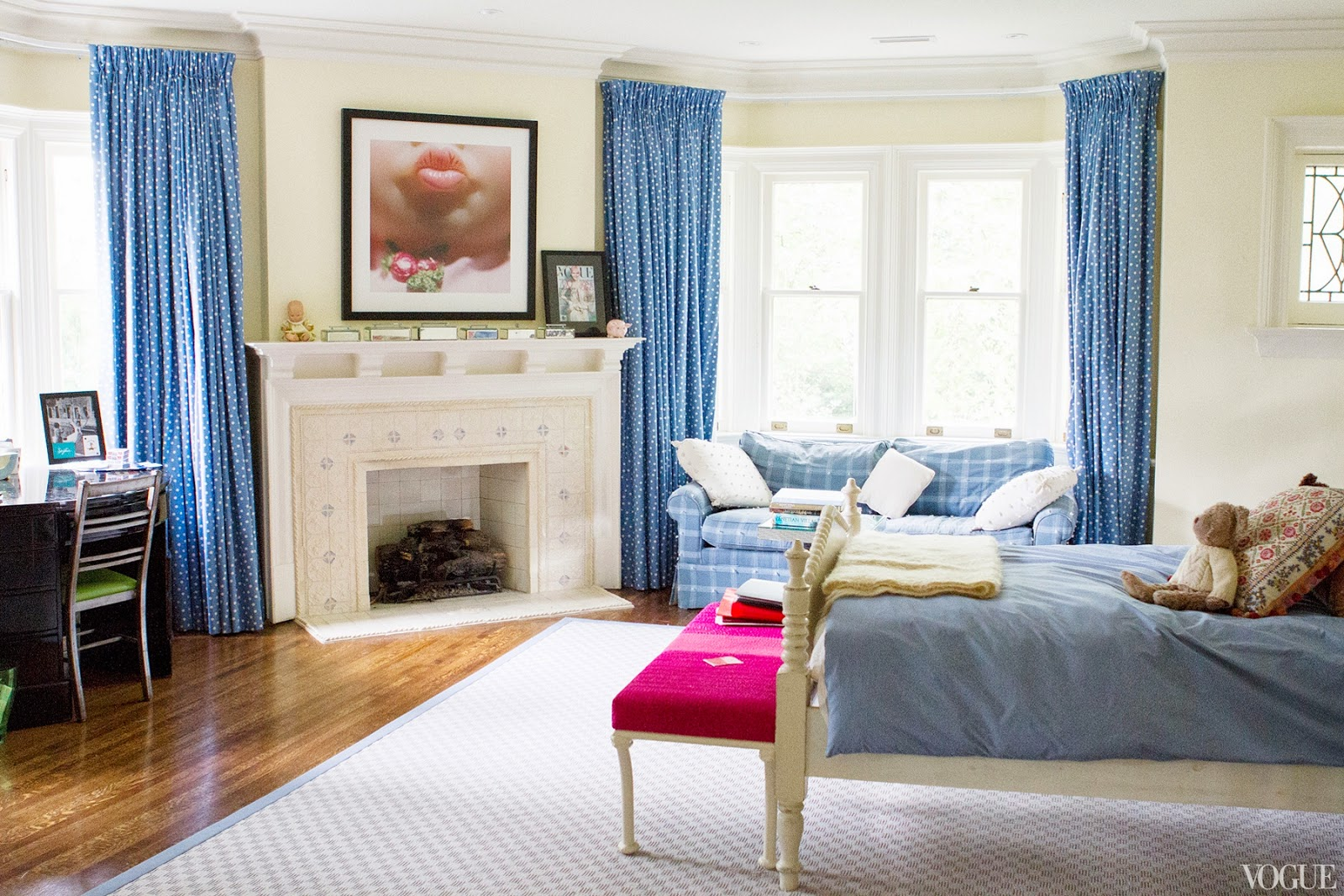 Amazing photo of Vogue.com contributor Sophie Young's blue bedroom in her childhood  with #6F3A28 color and 1600x1067 pixels