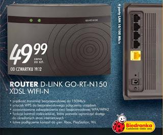 Router D-Link GO-RT-N150 XDSL WIFI-N z Biedronki ulotka
