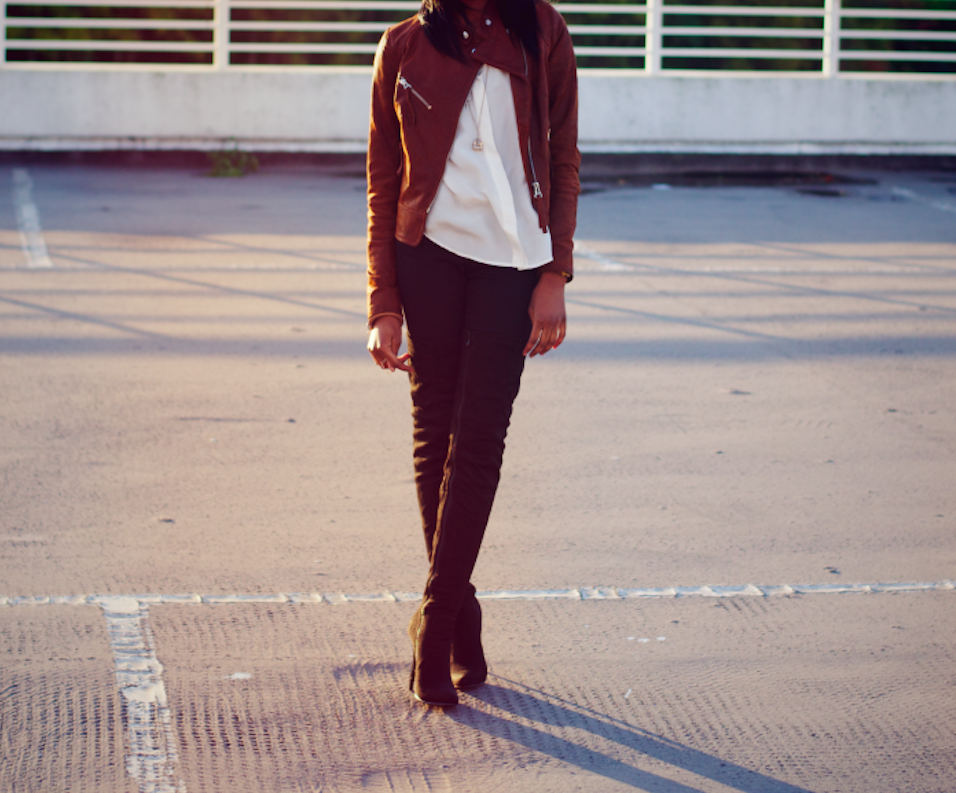 nia a  inch 2 the point tan leather jacket and suede over the knee boots