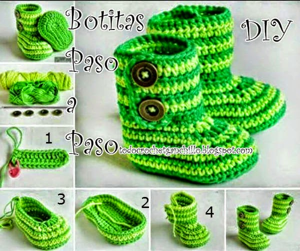 Paso a paso en fotos y video botas crochet