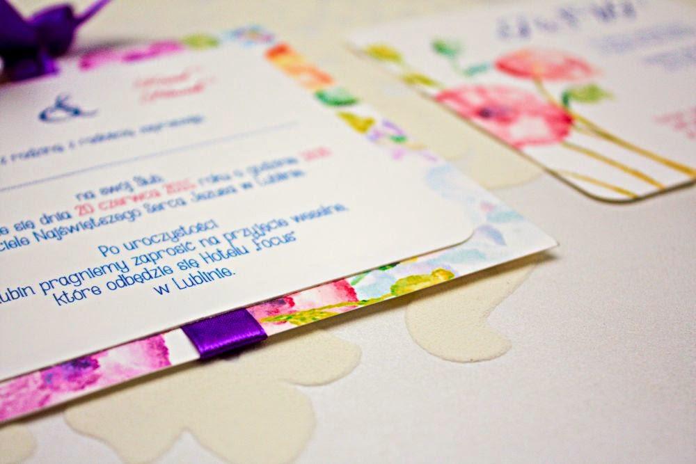 Zaproszenia ślubne ze wstążką Akwarelove by Artirea
