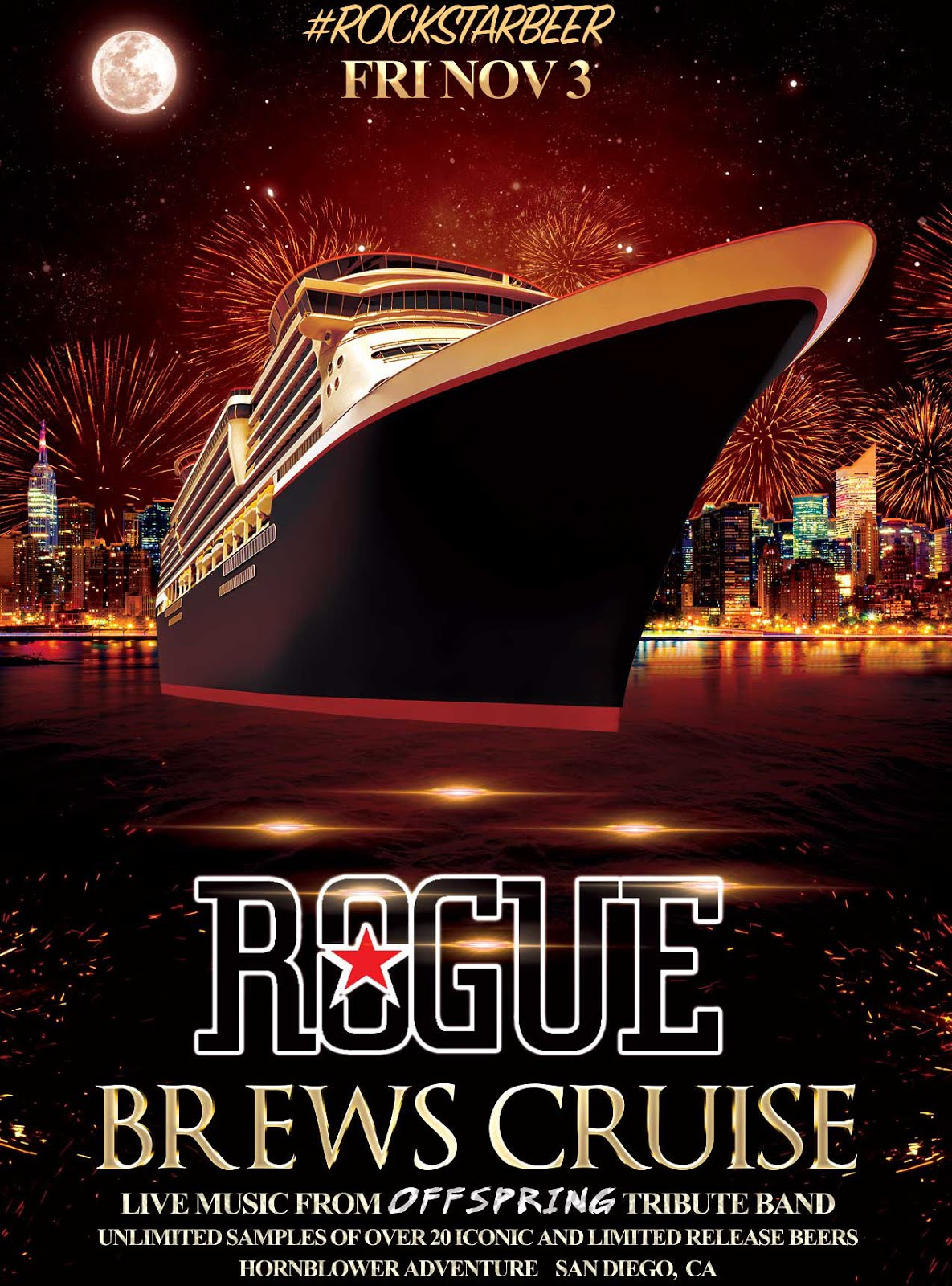 Promo code SDVILLE saves $5 per ticket to the Rogue Brews Cruise - November 3!