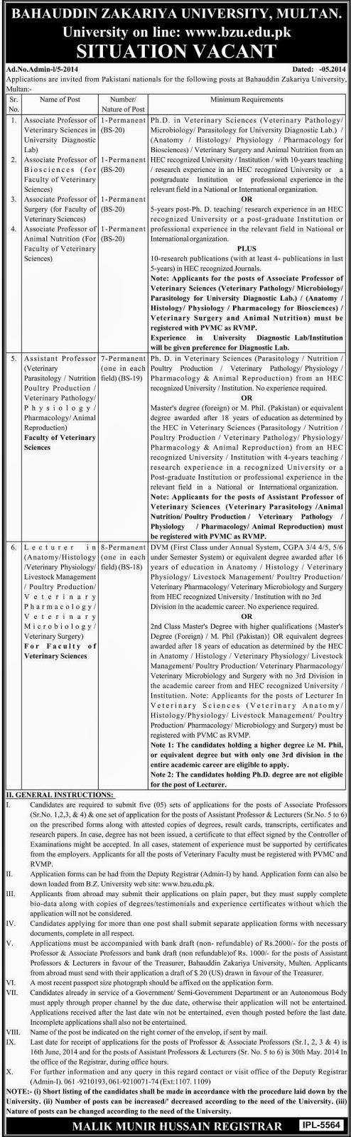 Professor and Lecturer Jobs in Bahauddin Zakariya University, Multan