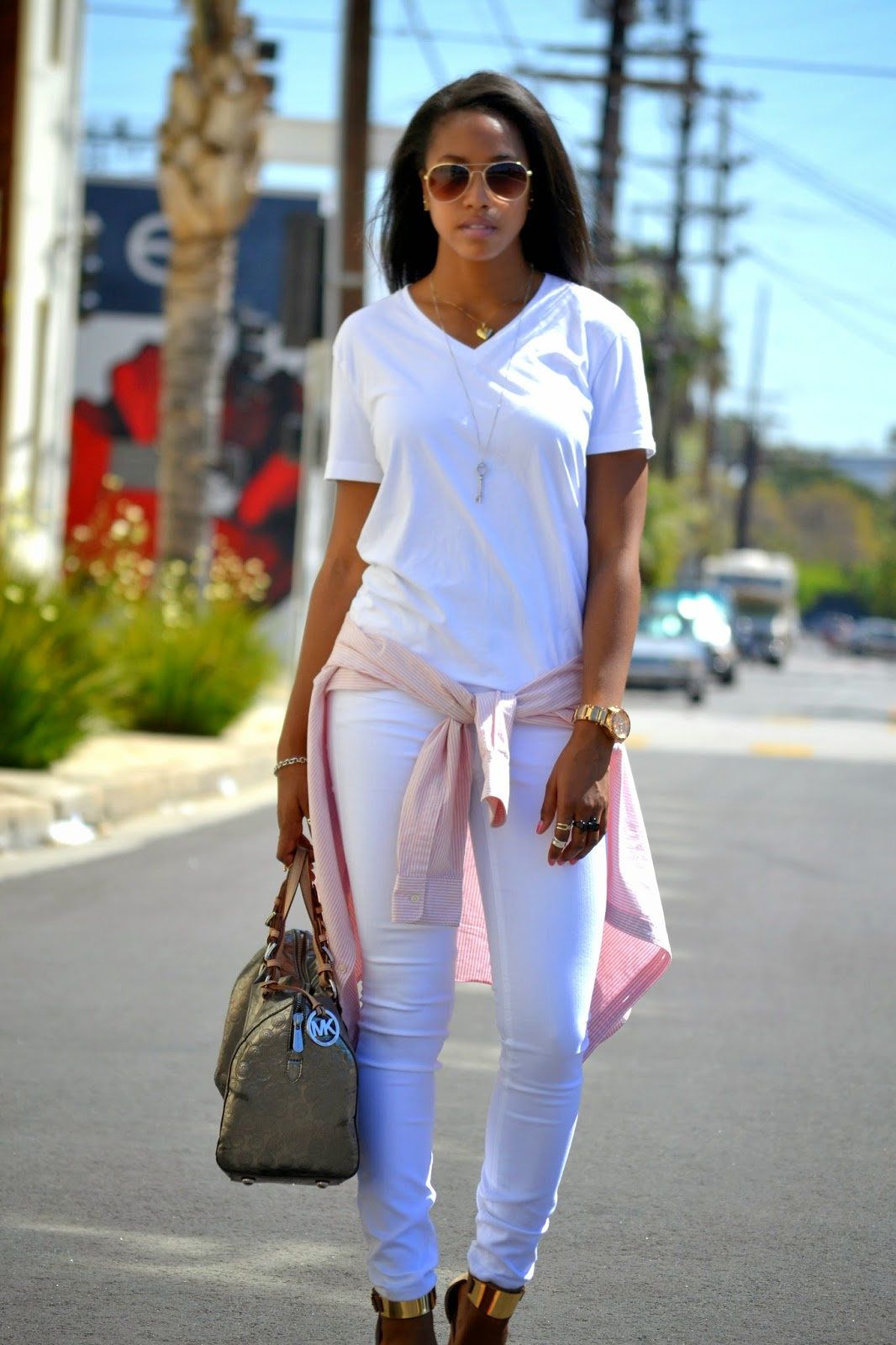 how to wear all white with metallic accents