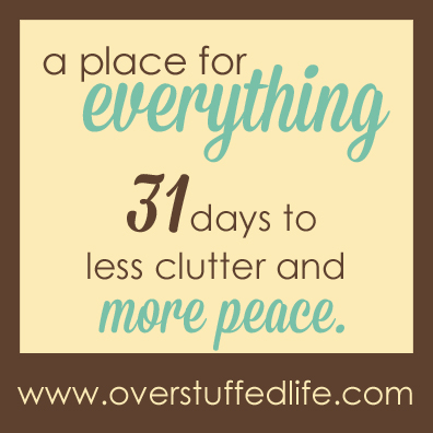 A 31 Day challenge to help you get rid of the clutter in your life.