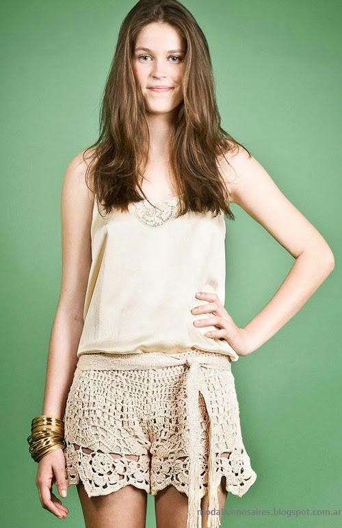 Moda Tejidos verano 2014. Agostina Bianchi primavera verano 2014 shorts tejidos.