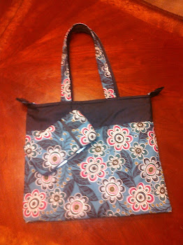 Pink and Blue Flower Diaper Bag with matching travel baby wipe case