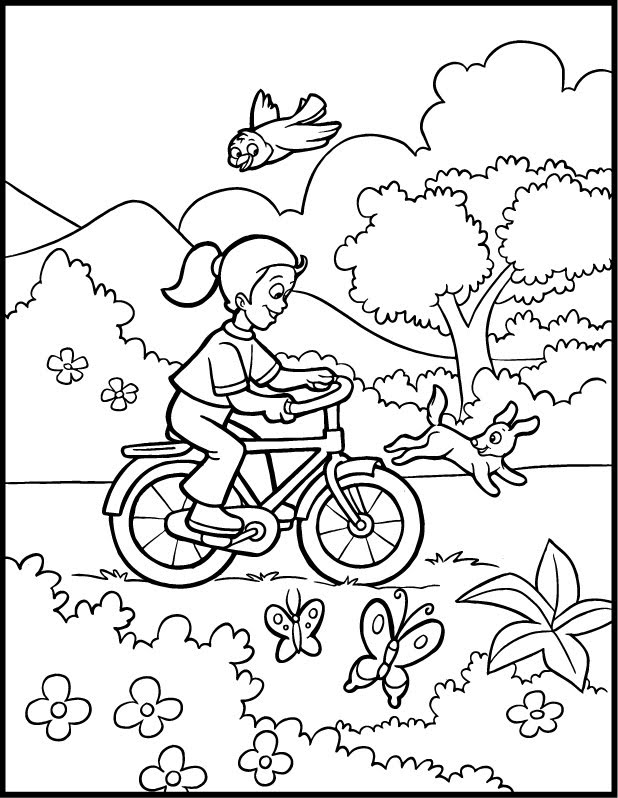 4 Seasons Colouring Sheets : Kentong: beautiful girl in spring coloring pages