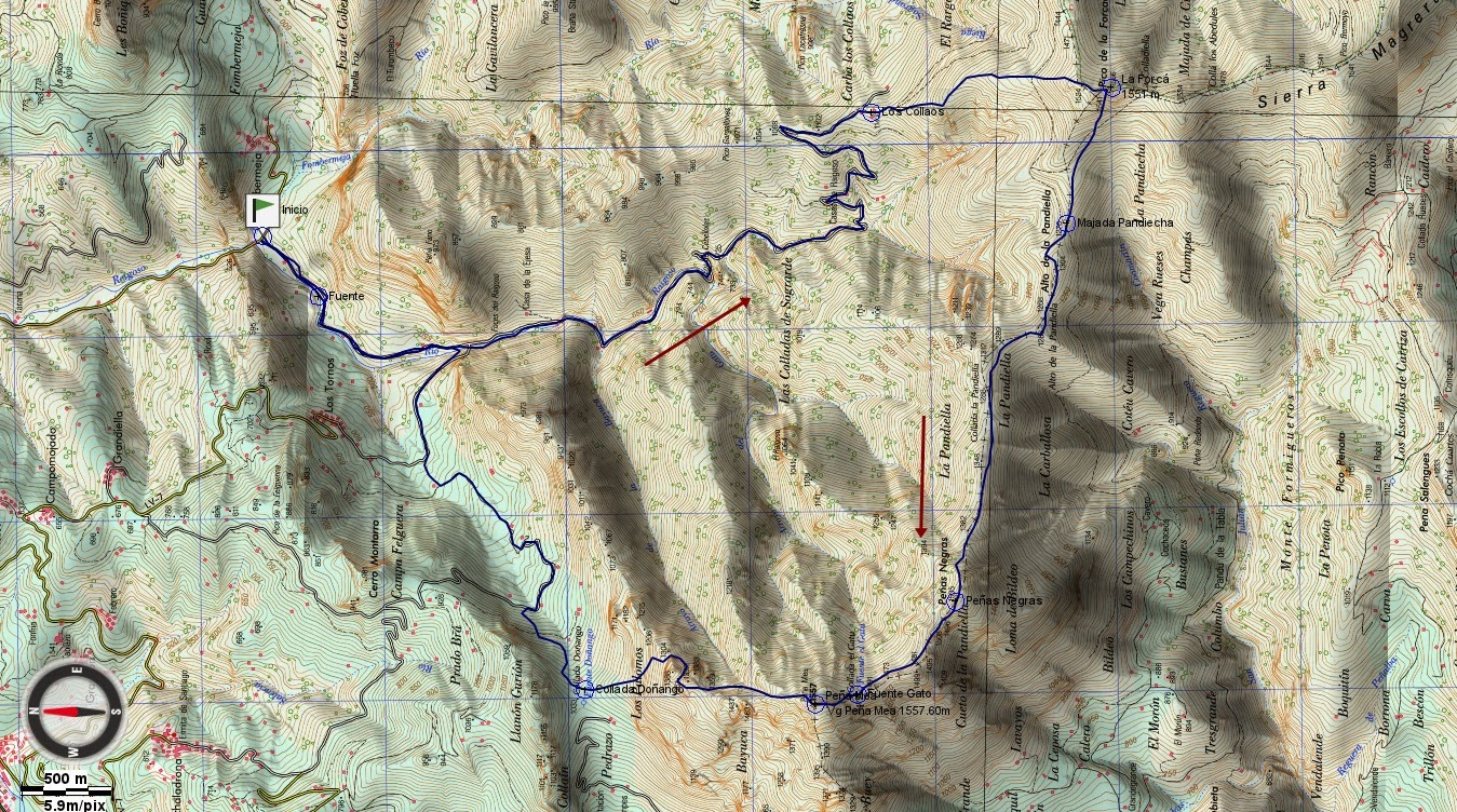 Mapa ruta Forcada, Peñas Negras, Peña Mea