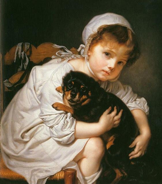 little girl,pet dog,Briton Riviere