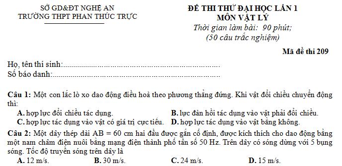 3 de thi thu dai hoc mon ly 2014 khoi a phan thu nhat