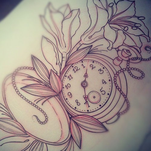 Pocket Watch And Rose Tattoo Female
